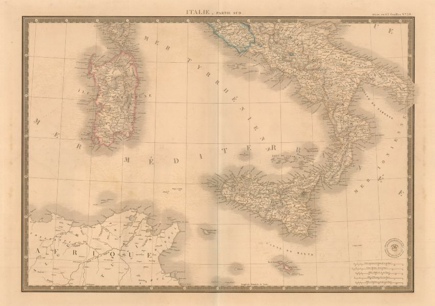 Associate Product 'Italie, partie sud' by A-H Brué. Southern Italy Sicily Sardinia c1842 old map