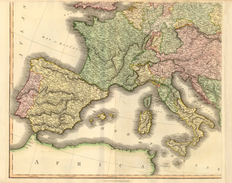 Associate Product South-west Europe. Swiss Savoy. British Hanover. THOMSON c1817 old antique map
