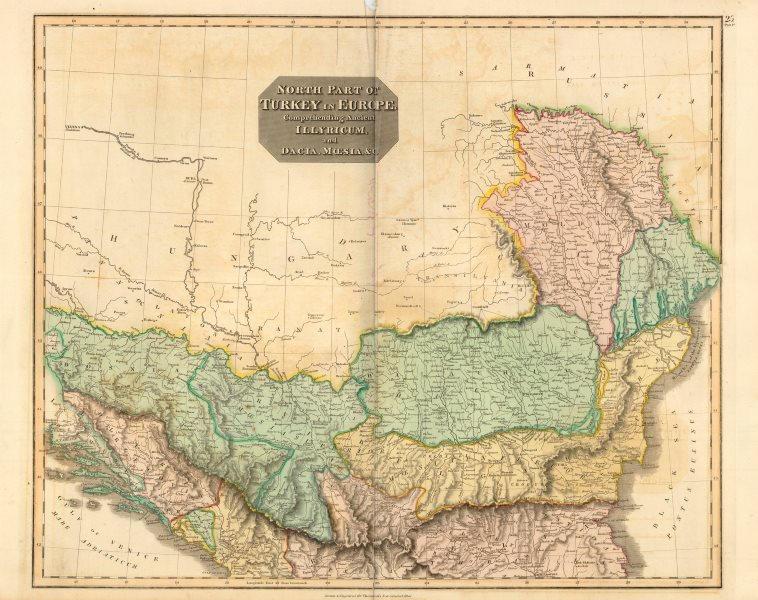"Associate Product ""North part of Turkey in Europe"". Wallachia Bulgaria Servia. THOMSON c1817 map"