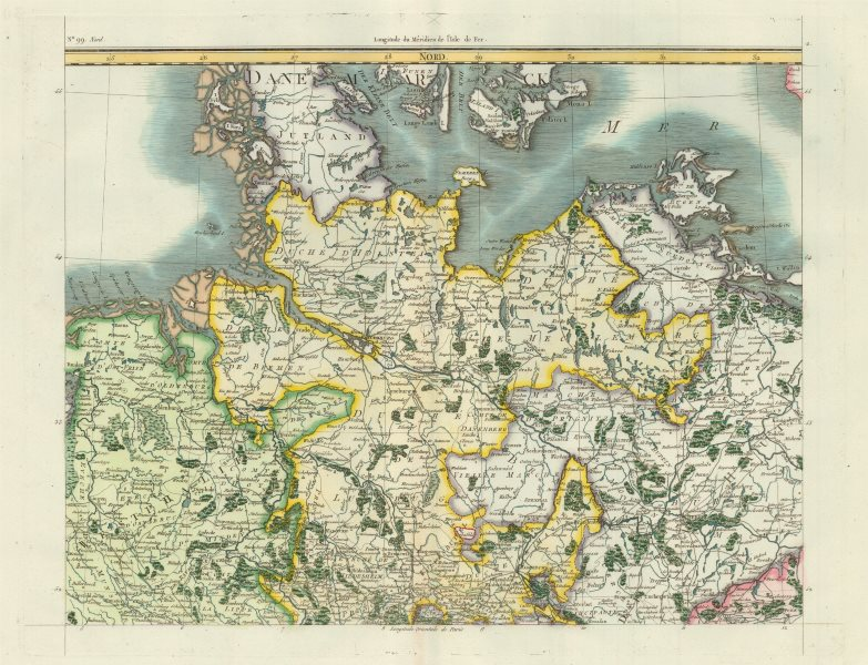 Northern Germany sheet by Chanlaire Mentelle from Carte d