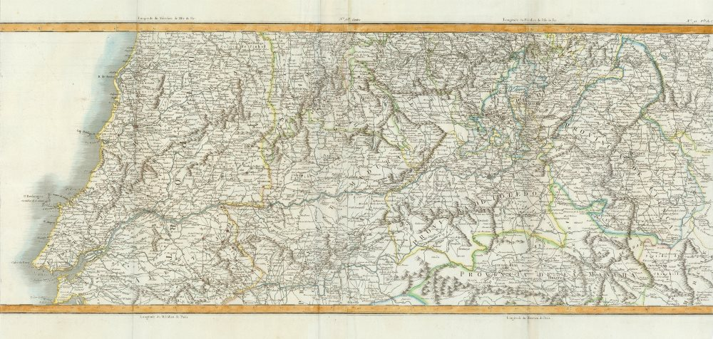 Tagus River valley basin in Portugal and Spain by Chanlaire & Mentelle c1810 map