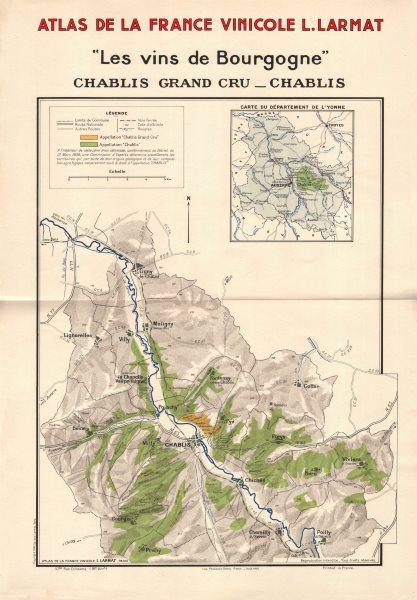 Associate Product BURGUNDY BOURGOGNE WINE MAP Chablis appellations vineyards vignobles LARMAT 1942
