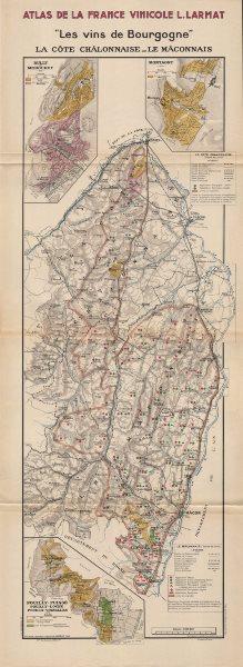 Associate Product BURGUNDY BOURGOGNE WINE MAP Côtes Châlonnaise Mâconnais appellations LARMAT 1942