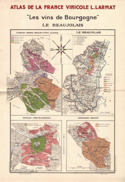 Associate Product BURGUNDY BOURGOGNE WINE MAP Le Beaujolais. Appellations vineyards. LARMAT 1942
