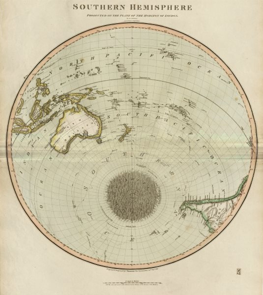 """""""Southern hemisphere… on the plane of the horizon of London"""". THOMSON 1817 map"""