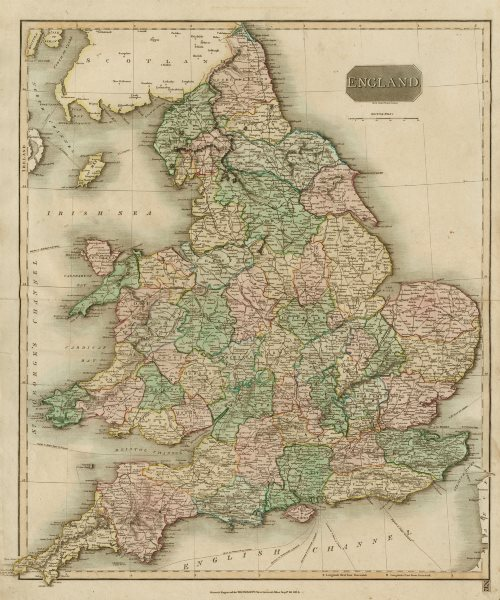 """Associate Product """"England"""" by John Thomson. England and Wales. Coach roads & canals 1817 map"""