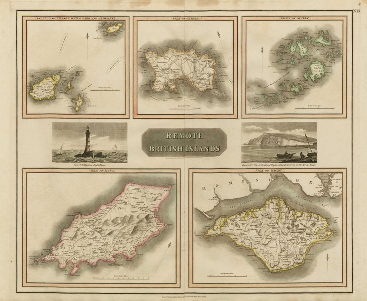 """Associate Product """"Remote British Islands"""" Channel & Scilly Isles of Man & Wight. THOMSON 1817 map"""