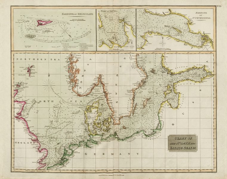 "Associate Product ""The North & Baltic Seas"". Heligoland Tallinn St Petersburg. THOMSON 1817 map"