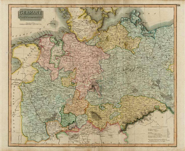 """Associate Product """"Germany, north of the Mayne"""" (Main). Prussia Hanover Saxony. THOMSON 1817 map"""