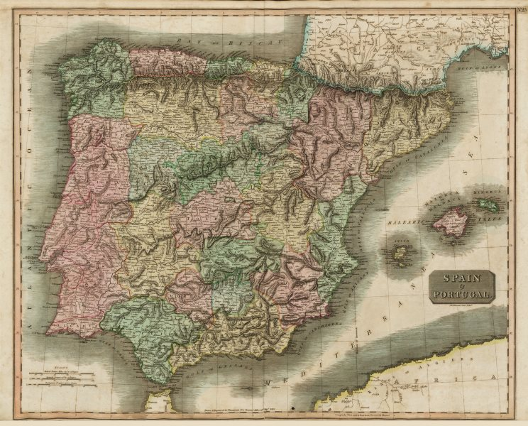 """Associate Product """"Spain and Portugal"""" by John Thomson. Provinces. Iberia 1817 old antique map"""