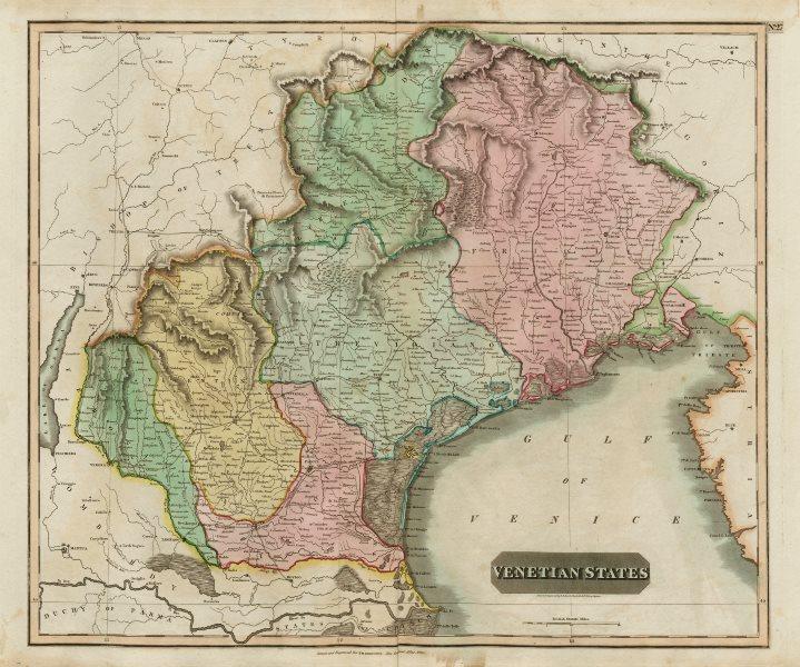 "Associate Product ""Venetian States"". Republic of Venice, Italy. Veneto & Friuli. THOMSON 1817 map"