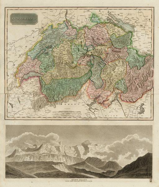 "Associate Product ""Swisserland"". Old Swiss Confederacy. w/o Geneva. Mont Blanc. THOMSON 1817 map"