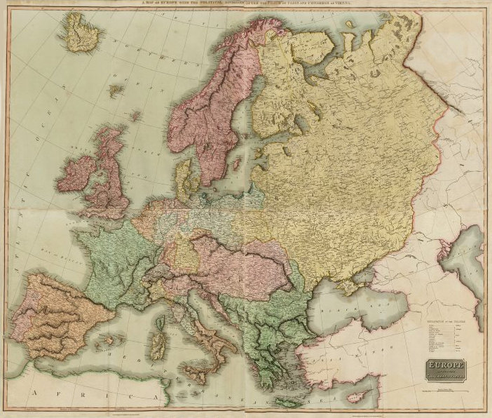 Associate Product Europe after the Congress of Vienna. 4 sheets. 128x106cm. THOMSON 1817 old map