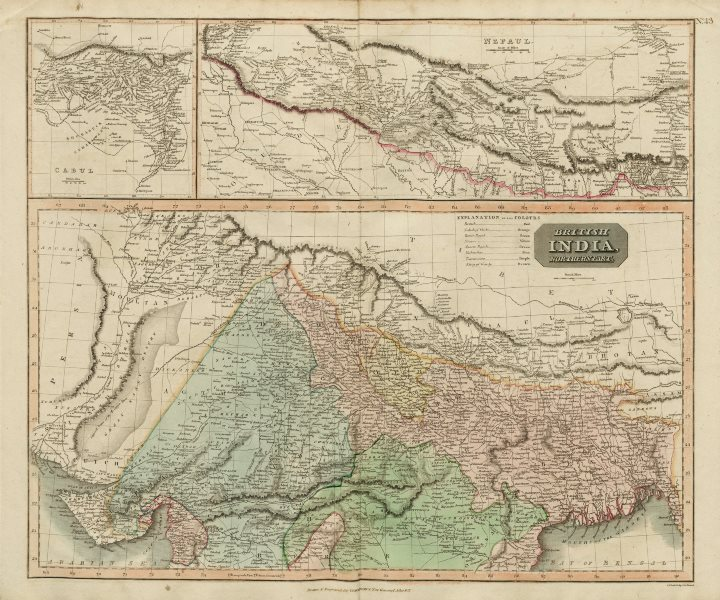 """Associate Product """"British India, northern part"""" w/ Nepal & Cabul. Afghanistan. THOMSON 1817 map"""