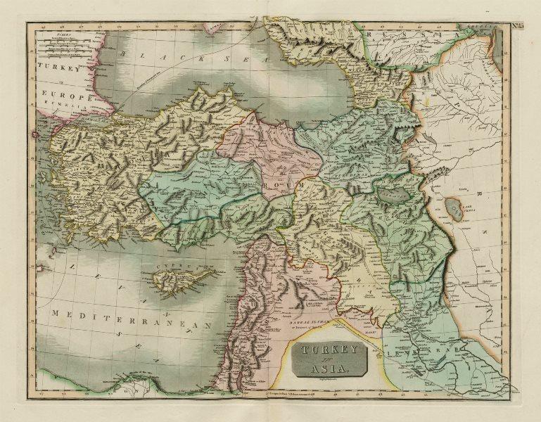 """""""Turkey in Asia"""". Anatolia Levant Kurdistan Armenia Cyprus. THOMSON 1817 map"""
