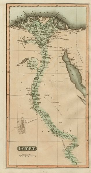 """Associate Product """"Egypt"""". Nile Valley. Eyles Irwin's route from India. THOMSON 1817 old map"""