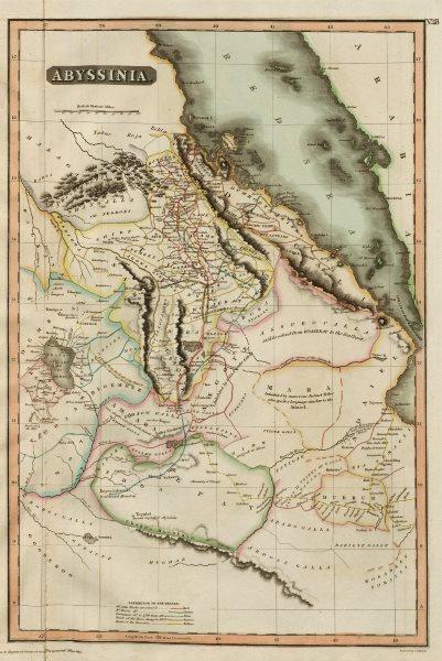 """Abyssinia"". Caravan & explorers' routes. Ethiopia. THOMSON 1817 old map"