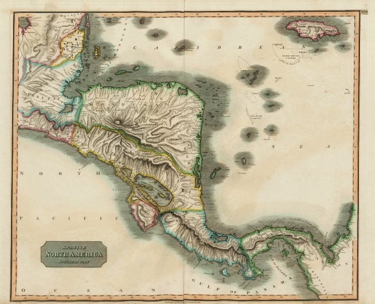 """Associate Product """"Spanish North America, southern part"""" by John Thomson. Central America 1817 map"""