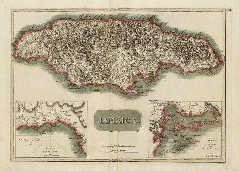 "Associate Product ""Jamaica"". Kingston Port Royal Bluefields/Savanna-la-Mar inset. THOMSON 1817 map"