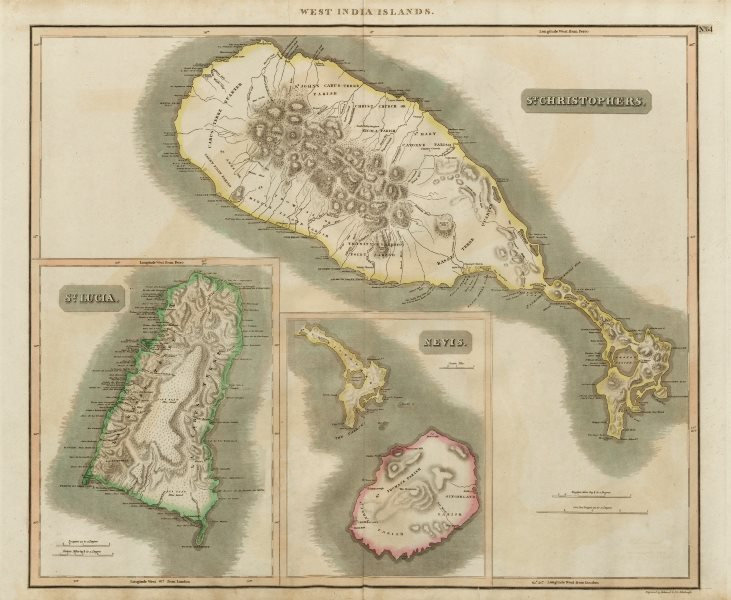 Associate Product St Christophers, Nevis & St Lucia. St Kitts. West Indies. THOMSON 1817 old map