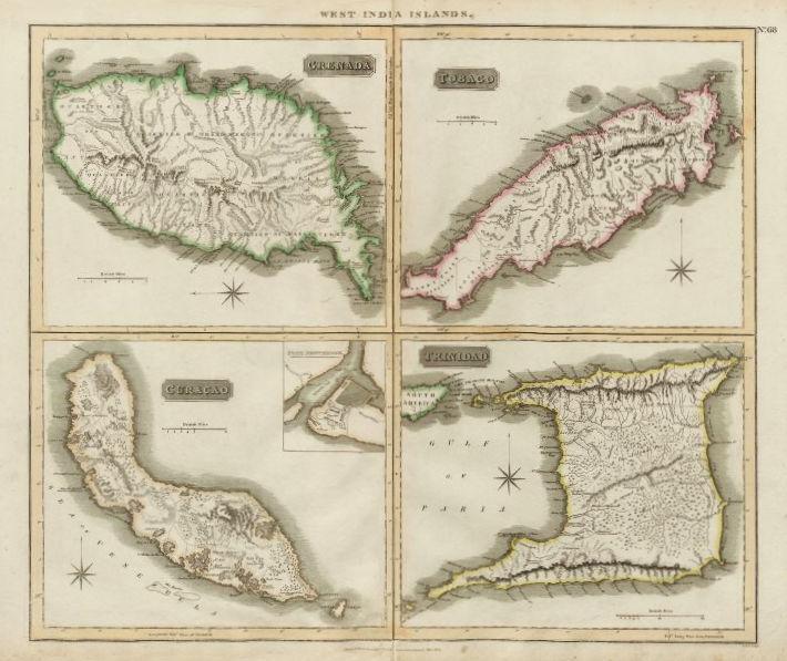 Associate Product Grenada, Tobago, Trinidad & Curaçao. West Indies Caribbean. THOMSON 1817 map