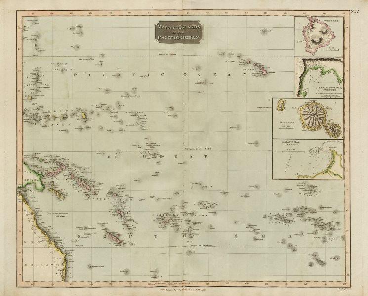 "Associate Product ""Islands in the Pacific Ocean"". Owhyhee/Hawaii Otaheite/Tahiti. THOMSON 1817 map"