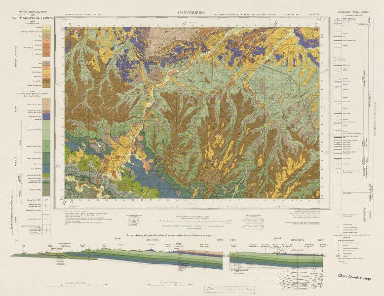 Associate Product Canterbury. Vintage geological survey map. Sheet 289. Kent Downs Ashford 1966