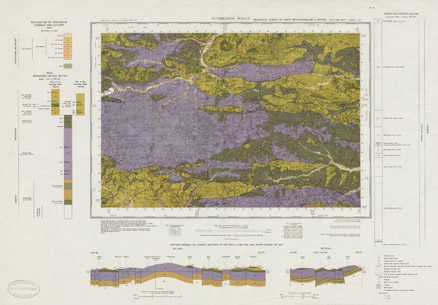 Associate Product Tunbridge Wells geological survey sheet 303 High Weald East Grinstead 1971 map