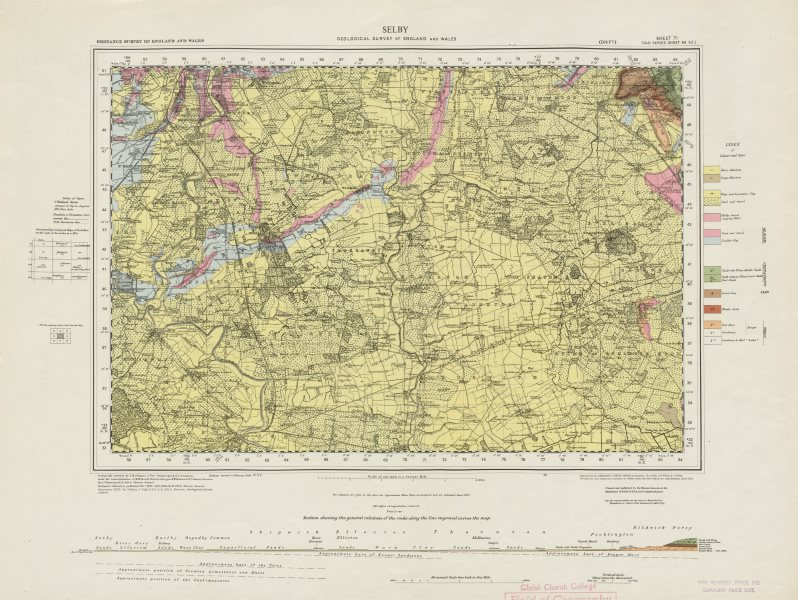 Associate Product Selby. Vintage geological survey map. Sheet 71. Yorkshire River Ouse 1959