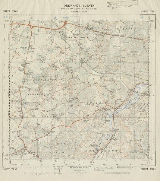 Vintage Ordnance Survey OS map sheet TR05 Boughton Sheldwich Challock 1964