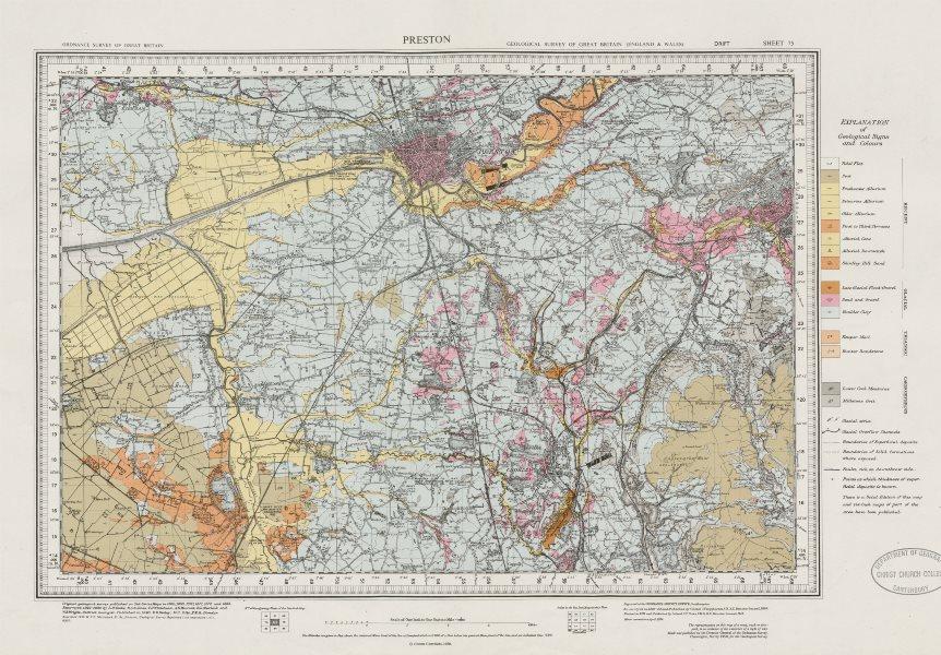 Associate Product Preston. Geological survey map. Sheet 75. Lancashire Blackburn Chorley 1971