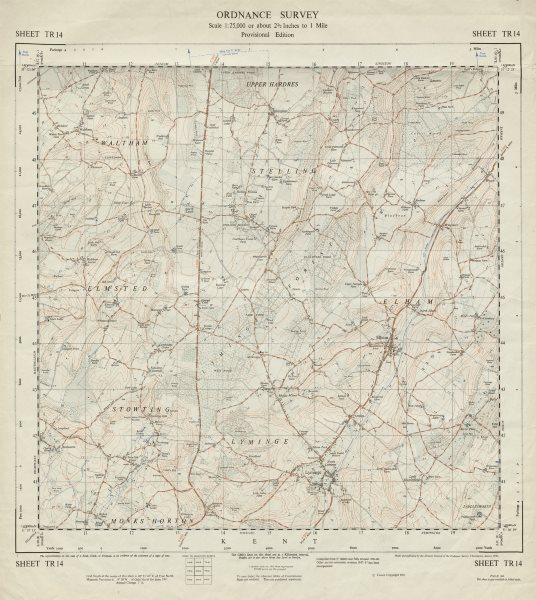 Associate Product Vintage Ordnance Survey OS map sheet TR14 Stelling Elham Lyminge 1961 old