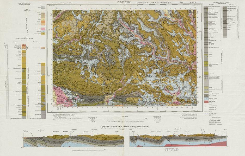 Associate Product Pontypridd. Vintage geological survey map. Sheet 248. Wales Rhondda Valley 1975