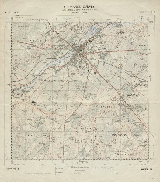 Associate Product Vintage Ordnance Survey OS map sheet TR15 Canterbury Chartham 1961 old