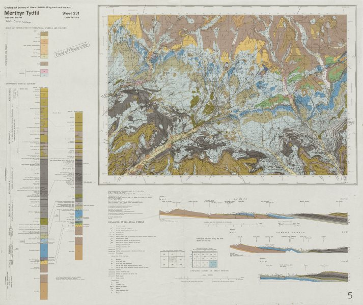 Associate Product Merthyr Tydfil. Geological survey map. Sheet 231. Wales Brecon Beacons 1979