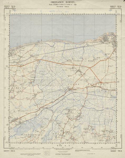 Associate Product Vintage Ordnance Survey OS map sheet TR26 Stourmouth Sarre Monkton 1960