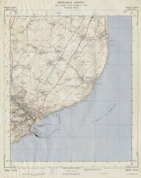 Associate Product Vintage Ordnance Survey OS map sheet TR34 Dover St Margaret's at Cliffe 1960
