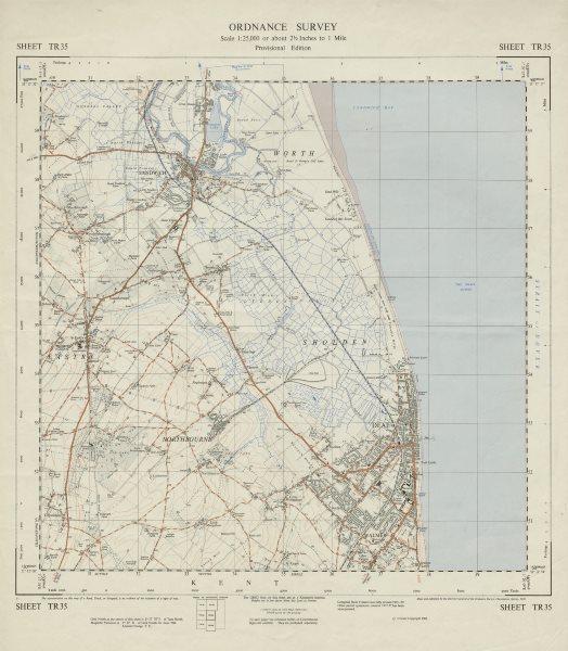 Associate Product Vintage Ordnance Survey OS map sheet TR35 Deal Sandwich Northbourne 1961
