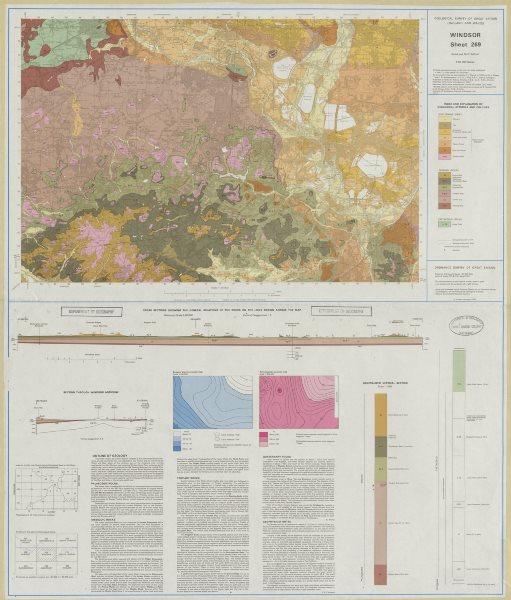 Associate Product Windsor geological survey sheet 269 Slough Eton LHR Chertsey Weybridge 1981 map