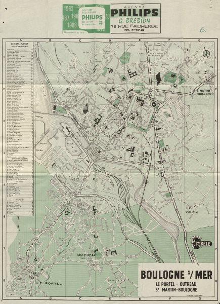Associate Product BOULOGNE SUR MER tourist town city plan. Le Portel Outreau St Martin c1972 map