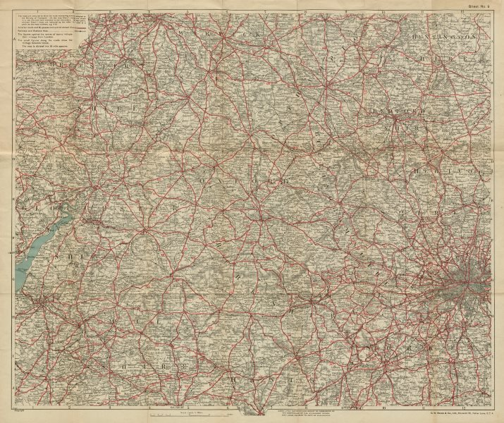 Associate Product 50 MILES ROUND OXFORD. Thames Valley, Cotswolds & Chilterns. BACON c1923 map