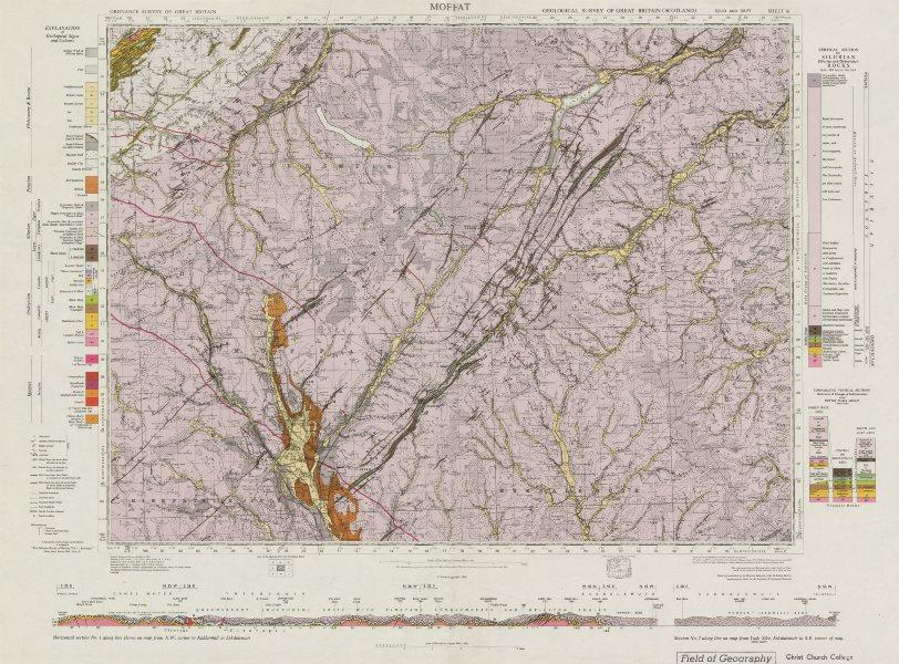Associate Product Moffat. Vintage geological survey map. Sheet 16. Scotland 1968 old vintage