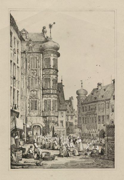 Associate Product Ratisbonne. Regensburg. Rare lithograph by Samuel PROUT c1830 old print