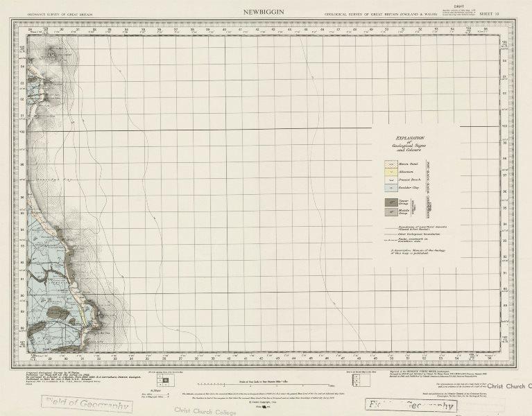 Associate Product Newbiggin geological survey sheet 10 Northumberland coast Coquet Island 1964 map