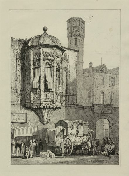 Associate Product Cologne. Köln. Rare lithograph by Samuel PROUT c1830 old antique print picture