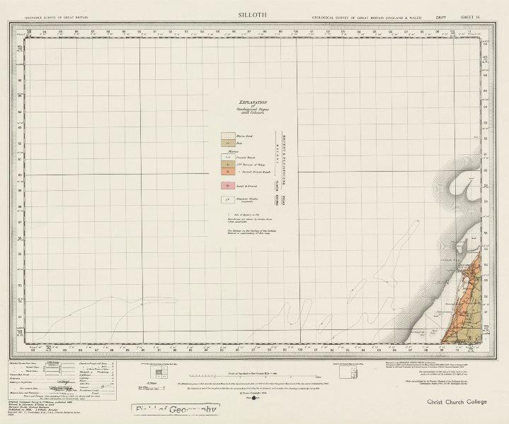 Silloth. Vintage geological survey map. Sheet 16. Cumbria Beckfoot 1964