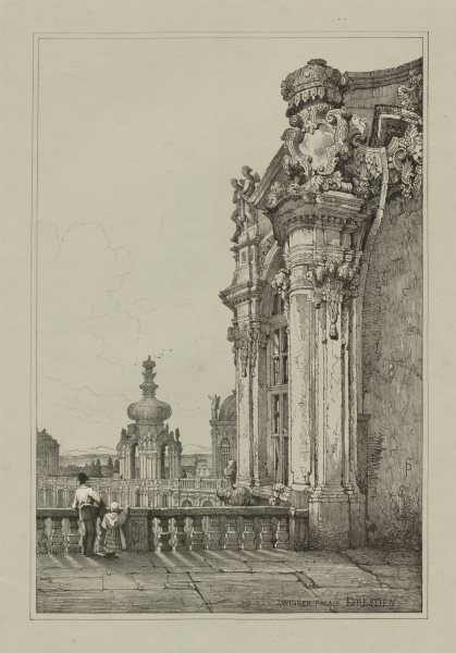Associate Product Zwinger Palace, Dresden. Rare lithograph by Samuel PROUT c1830 old print