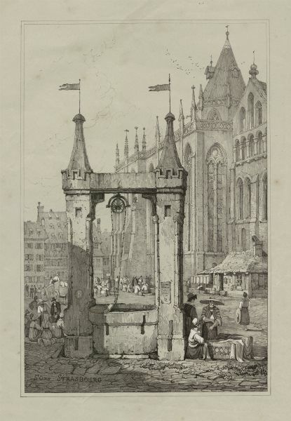 Associate Product St Omer, Strasbourg. Place St-Thomas. Rare lithograph by Samuel PROUT c1830