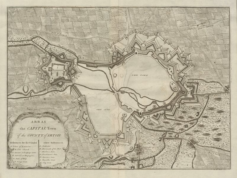 """Associate Product """"Arras, the capital town of the County of Artois"""", by Claude DU BOSC c1735 map"""