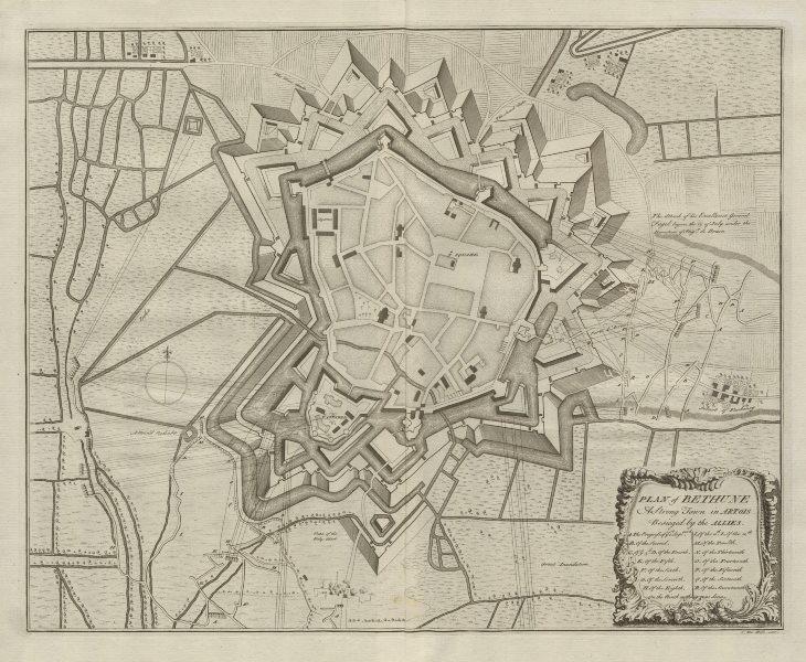 "Associate Product ""Plan of Bethune, a strong town in Artois…"" by Claude DU BOSC. Béthune c1735 map"